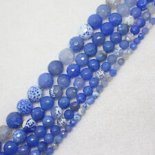 """6-14mm Faceted Blue Fire Crab Agate Round DIY Loose Beads 15"""""""