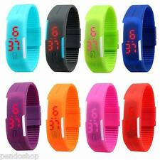 8PC Mens Watch Unisex Rubber LED Bracelet Sports Digital Wristwatch Wholesale