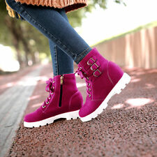 preppy womens girls ankle boots High Top shoes faux suede lace Up Side zip Size