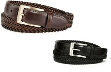 Stafford men's Braided Belt Leather brown or black Big & Tall size 48, 50 NEW