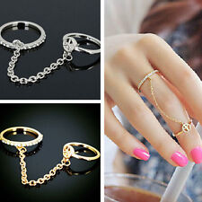 NEW 2015 Ladies Silver Gold Chain Jewelry Crystal Rhinestone Double Ring GIRLS