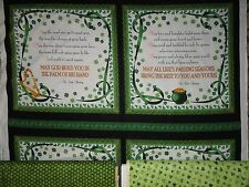 Irish Blessing / Quilting / Sewing / Cotton Fabric / 4 leaf clovers / shamrock