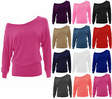 Womens Batwing Off Shoulder Top Ladies Baggy Plain Jersey Long Sleeve Size 8-22