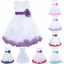Wedding Flower Girl Kid Dress Princess Pageant Bridesmaid Party Cotton SZ 3-10Y