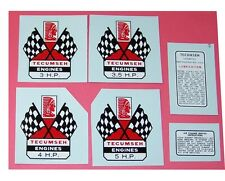 Tecumseh Flags WATER TRANSFER DECALS - Sets or Individually - Mini Bike Go Kart