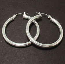 4mm Thick Plain Hoop Earrings 925 Sterling Silver ALL SIZES FREE SHIPPING