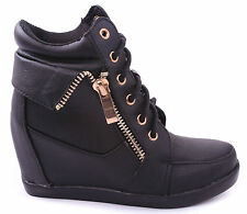 FMJ Shoes Peter Kids Fashion Synthetic Lace-up High Top Wedge Sneaker Bootie