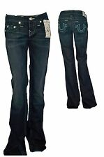 True Religion Women's Twisted Torn Boot Cut Teal Time Lapse Jeans New with Tags