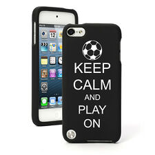 For Apple iPod Touch 4th 5th 6th Rubber Hard Case Cover Keep Calm Play Soccer