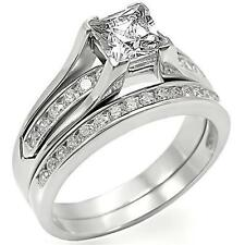 Cathedral Stainless Steel Princess Cut AAA CZ Wedding Bridal Ring Set Size 5-11
