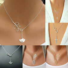 1Pcs Women Branch Cross Leaf Bird Cross 8 Pendants Charms Plated Chains Necklace