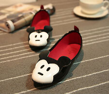 New Women Personality Cute Mouse Face Loafers Low Heel Ballet Flats Shoes EQ777