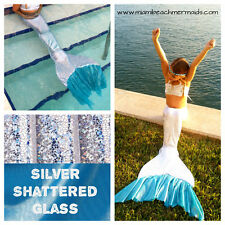 "Swimmable Mermaid Tail ""Ruffle Fluke Series"" Silver Shattered Glass  W/ Monofin"