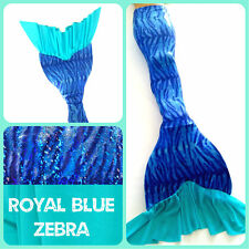 "Swimmable Mermaid Tail ""Ruffle Fluke Series"" Royal Blue Zebra"" W/ Monofin"