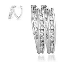 Hoops Huggies Earrings Vintage New 1/2 Ct Round Diamond Jewelry 14Kt White Gold