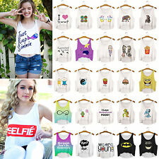 Mujeres Summer Sleeveless Casual Top Blouse Crop T-shirt Camisas y tops blusa