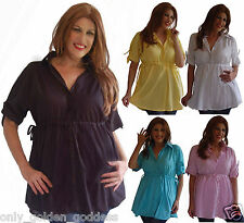 pick color & size blouse shirt top short sleeve empire waist cotton