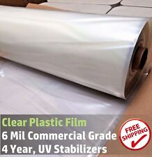 Clear Greenhouse Plastic Poly Film 4 Year 6 mil, 12 ft wide x Various Sizes