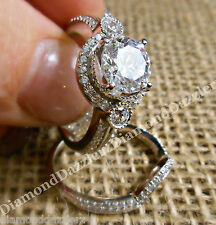 Estate Diamond cut White Sapphire Engagement Ring Wedding Set Sterling Silver 8
