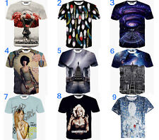 Fashion Women/Men Printed Mickey Galaxy Clown dog Top 3D T Shirt Hip Hop Summer