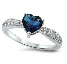925 Sterling Silver Blue Heart Sapphire Clear CZ  Ring