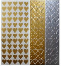 HEARTS Peel Off Stickers Love Romance Wedding Stationery Heart Gold or Silver