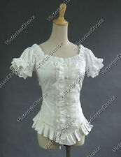 White Women Victorian Gothic Lolita Ruffle Blouse Top Shirt Punk Steampunk B123