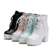 Hot Preppy Platform Block Chunky Heel LaceUp Punk Women Ankle Boots Riding Shoes
