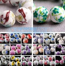 10pcs Round Ceramic Porcelain Charm Loose Spacer Big Hole Beads Jewelry Findings