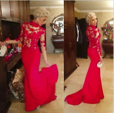 Red Mermaid Lace Prom Dresses Sexy Long Sleeve Evening Gowns For Party Plus Size