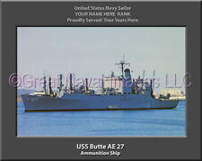 USS Butte AE 27 Personalized Canvas Ship Photo Print Navy Veteran Gift