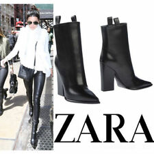 ZARA BLACK LEATHER HIGH HEELED COWBOY BOOTIE ANKLE BOOT SHOES Ref. 6112/301