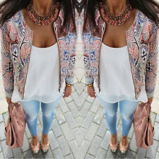 Women Casual Slim Floral Top Blouse Outwear Parka Overcoat Trench Coat Jacket
