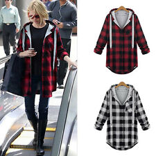 Women New Casual Warm Coat Jacket Plaid Long Sleeve Button Loose Hoodies Outwear