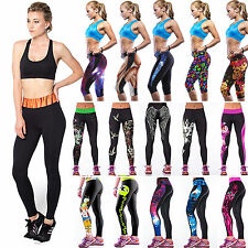 NEW Femmes 3D yoga Sport Fitness Leggings Compression Tights Dance Pants Cropped