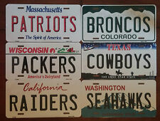 "NFL Team State Metal License Plate Tag 12""X6"" Made In The U.S.A."