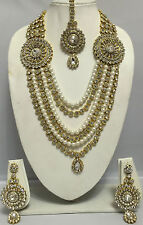 Indian Traditional Bollywood Jewellery Gold Diamante Ranihar Necklace & Earring