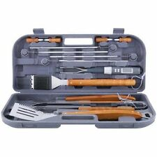 New ~ Mr. Bar B Q 94122 12 Pc Stainless Steel Tool Set with Wood Handles