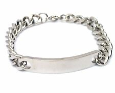MENS STAINLESS STEEL IDENTITY BRACELET BIRTHDAY ENGRAVED / PERSONALISED WITH BOX