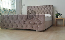 Florida Diamond Fabric Upholstered Bed Frame Mink 4'6 Double 5ft King Size