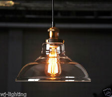Clear Glass Shade Ceiling Vintage Retro Chandelier Fitting Pendant Lamp Light