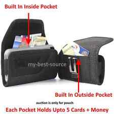 Pouch/Holster Cover w/2 Pockets Card Metal Belt Clip FOR Otterbox Defender Case