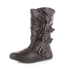 Womens Ladies Blowfish Olin Brown Old Saddle Buckle Wide Calf Flat Boots Size