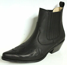 MEN'S JOHNNY BULLS WESTERN COWBOY STYLE  LEATHER ANKLE BOOTS Style 9636 Black