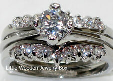 Round Cut Diamond Engagement Ring Wedding Band Set White Gold Sterling Silver