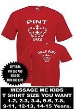 TWO PINT HALF PINT fathers mothers day son daughter birthday mens women T SHIRTS