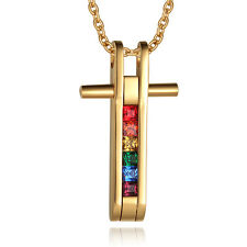 Gay & Lesbian Crystal Stainless Steel Cross Mens Womens Pendant Rainbow Necklace
