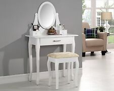 White Dressing Table Set with Stool and Adjustable Oval Mirror Bedroom Furniture