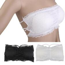 Sexy Woen Lady Lace Boob Tube Padded Bandeau Bras Crop Top Strapless Cross Back