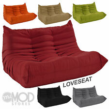 Downlow Loveseat Mid Century Love Seat Modern 2 Seater Fabric Low Profile COLORS